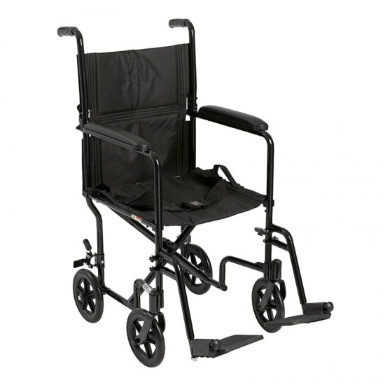 "Drive Medical ATC17-BK Lightweight Transport Wheelchair, 17"" Seat, Black"
