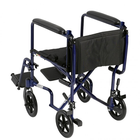 "Drive Medical ATC17-BL Lightweight Transport Wheelchair, 17"" Seat, Blue"