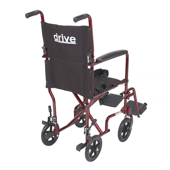 """Drive Medical ATC17-RD Lightweight Transport Wheelchair, 17"""" Seat, Red"""
