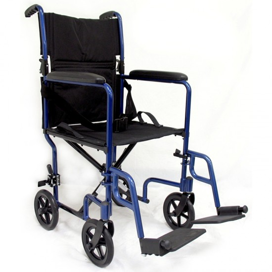 Karman LT-2019 19 inch Seat 19 lbs. Lightweight Transport Chair with Removable Footrest in Blue
