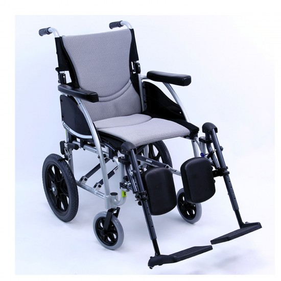 "Karman Healthcare S-115 16"" Seat Ergonomic Transport Wheelchair With Companion Wire Brakes, 22 lbs - Silver"