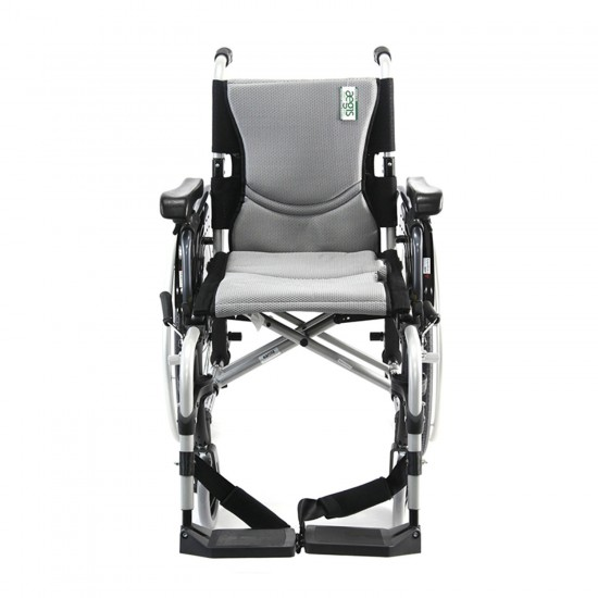 "Karman Healthcare S-Ergo 305 18"" Ultra Lightweight Ergonomic Wheelchair, 29 lbs - Silver"