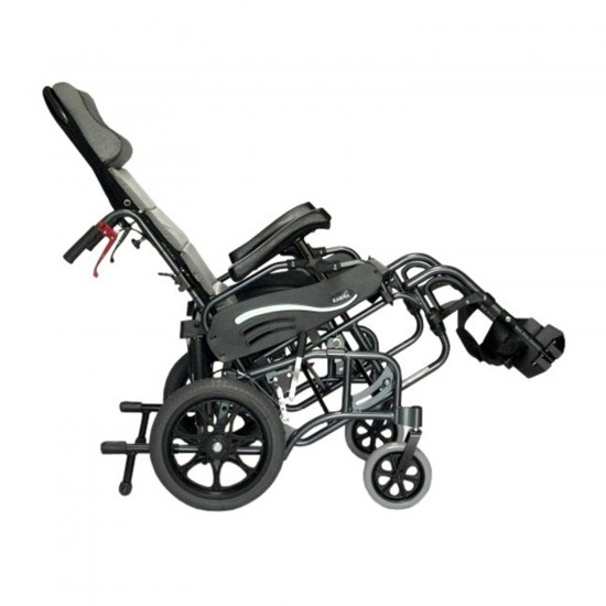Karman VIP-515 Aluminum Lightweight Transport Wheelchair, Upgraded To Elevating Legrests, 16 inch Seat Width in Diamond Black Frame