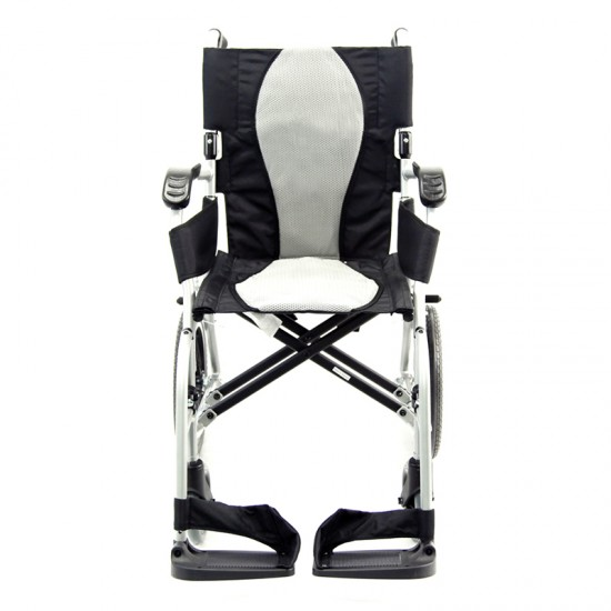 "Karman Healthcare Ergo Flight 16"" Seat Transport Wheelchair, 18 lbs - Silver"