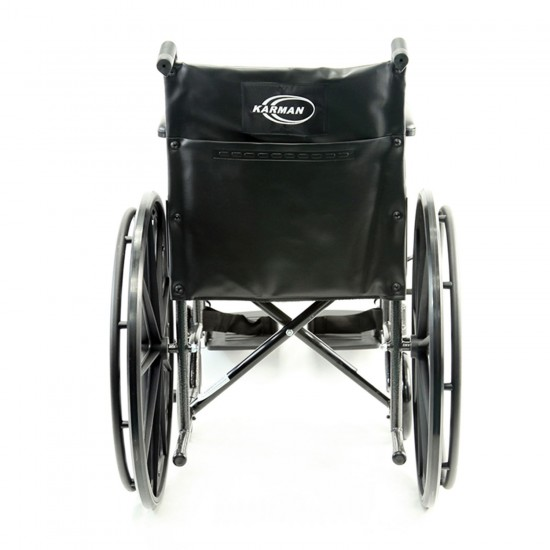 Karman KN-700T 18 inch Height Adujustable Seat 39 lbs. Steel Wheelchair with Removable Armrest