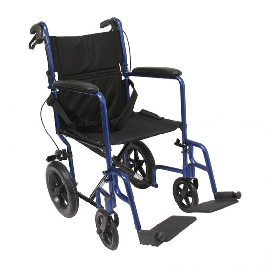 Karman LT-1000HB 19 inch Seat 19 lbs. Lightweight Transport Chair with Hand Brakes and Removable Footrest in Blue