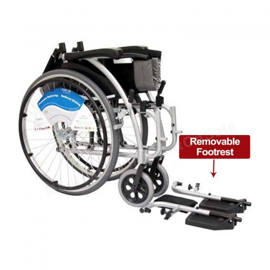 """Karman Healthcare S-115 16"""" Seat Ergonomic Ultra Lightweight Wheelchair with Mag Wheels, 15 lbs - Silver"""