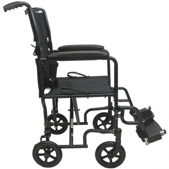 Karman T-2017 17 inch Seat 23 lbs. Steel Transport Chair with Removable Footrest